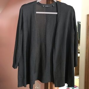 Sweaters - Black 3/4 sleeve cardigan with small hole details